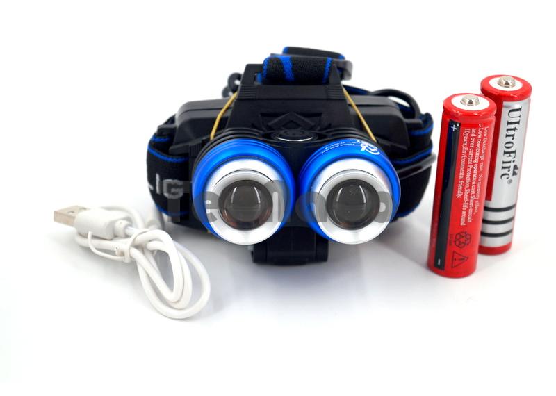 YT-K30-T6 Аккумуляторный налобный фонарь  2LED T6