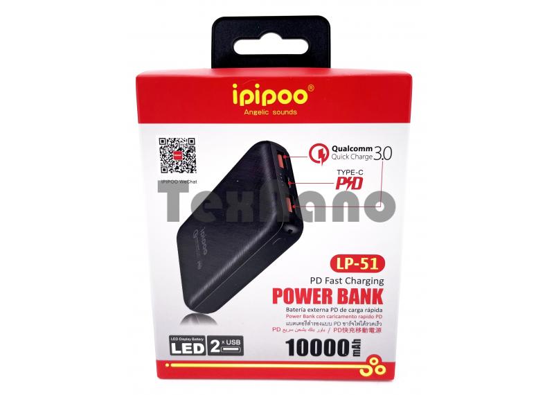 LP-51 iPiPoo Power Bank 2 USB 3.0/LED 10000mAh/Быстрая зарядка