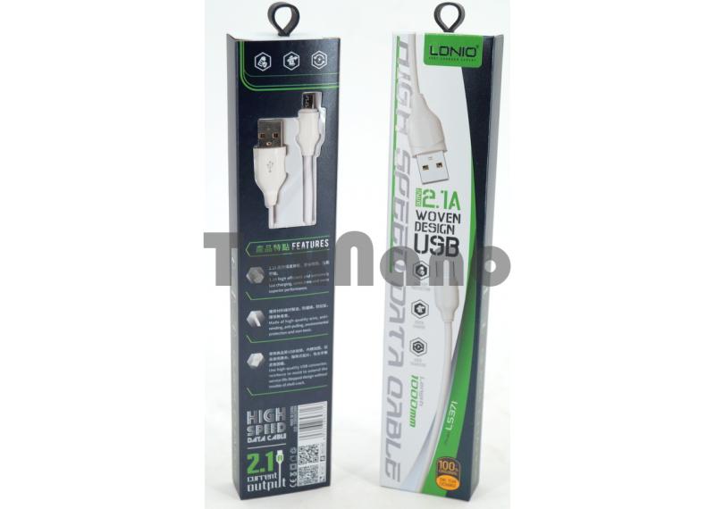"LS371 USB Кабель Android ""LDNIO"" 2.1A 1000mm"