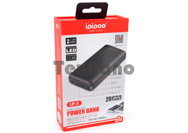 LP-3 iPiPoo Power Bank 2 USB/LED 20000mAh