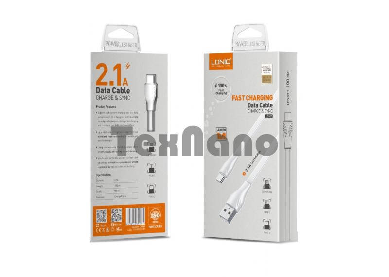"""LS551 USB Кабель Micro (Силиконовый) """"LDNIO"""" 2.1A 1000mm"""