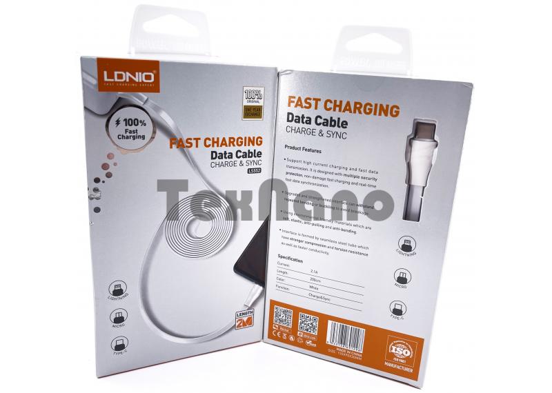 """LS552 USB Кабель Type-C (Силиконовый) """"LDNIO"""" 2.4A 2000mm"""