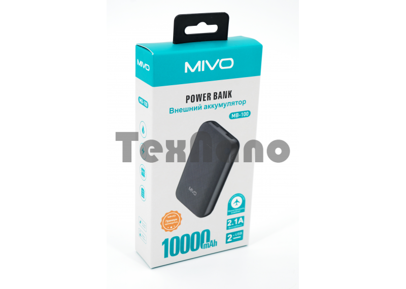 MB-100 MIVO 10000mAh Power Bank 2 USB/2.1A