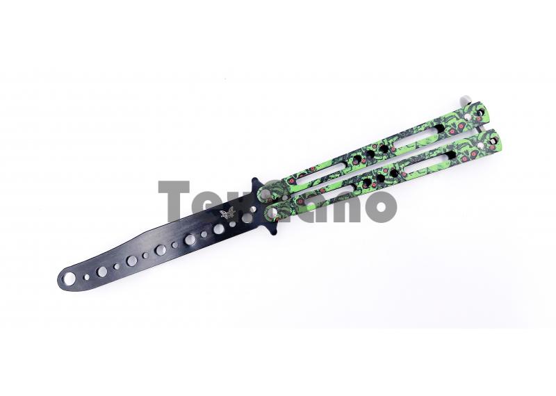 AC-K01 (Зеленый череп)Тренировочный ножик бабочка (22 см)