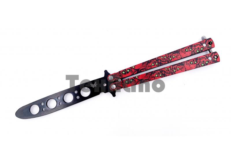 AC-K02 (Красный череп)Тренировочный ножик бабочка (22 см)