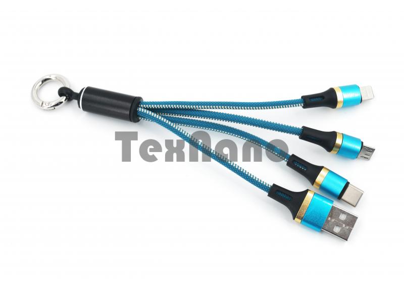 Брелок USB кабель 3в1 iPhone/Micro/TYPE-C