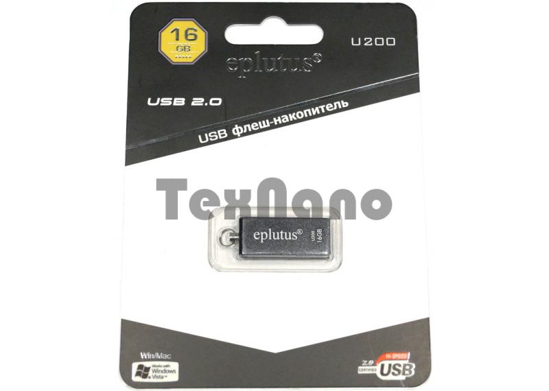 "U 200 16GB USB Флеш-накопитель ( короткая, металл)  USB 2.0 ""eplutus"""