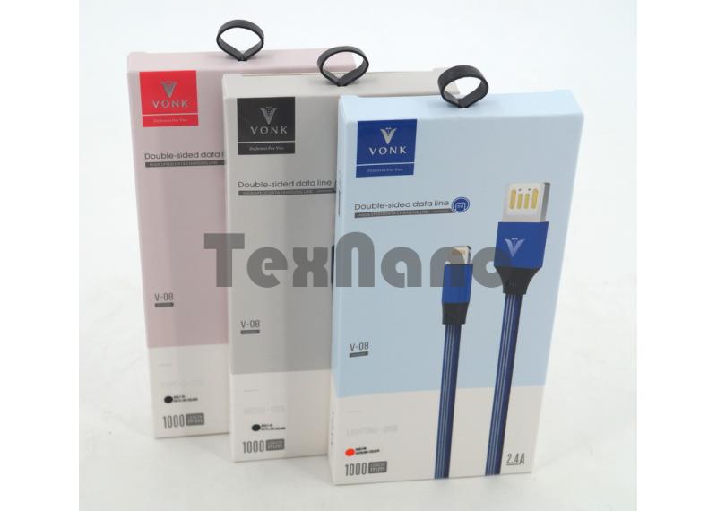 "V-08 USB Кабель iPhone 5/6/7/8 ""VONK"" 2.4A /1000mm"