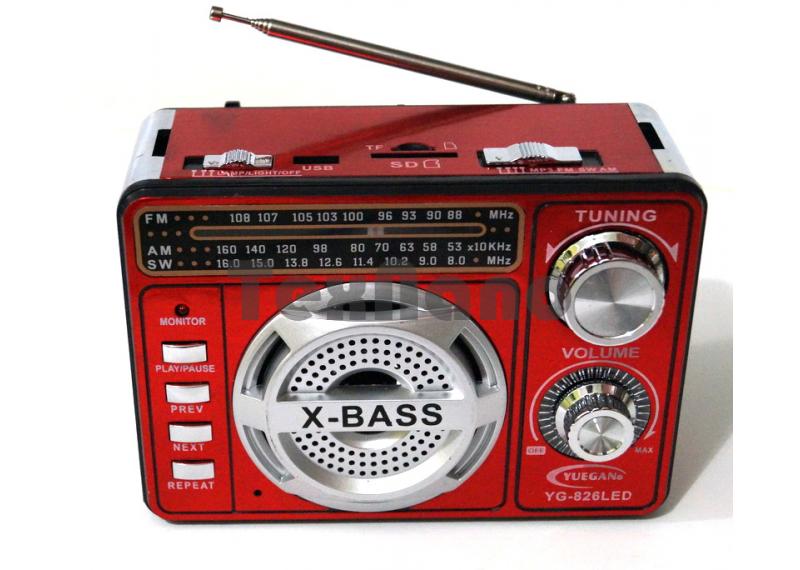 YG-826 LED Аккумуляторный Радиоприемник с USB/SD проигрывателем
