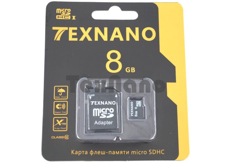 Карта памяти Texnano MicroSDHC 8Gb Class 10 + адаптер