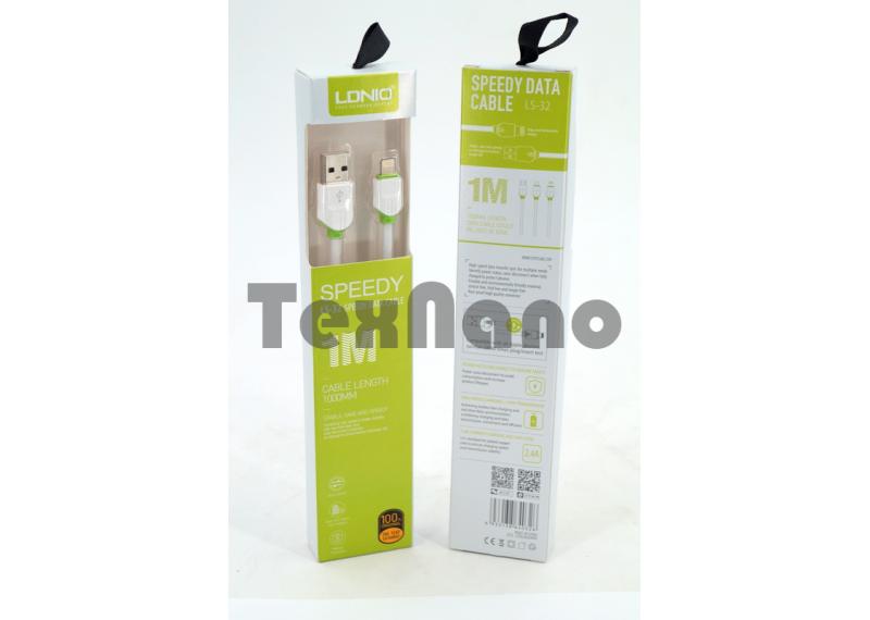 """LS32 USB Кабель iPhone 6/7/8,,(Силиконовый) """"LDNIO"""" 2.4A 1000mm"""