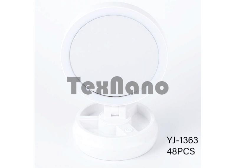 YJ-1363 Двухстороннее Косметическое зеркало с подсветкой, увеличение 1/10 крат