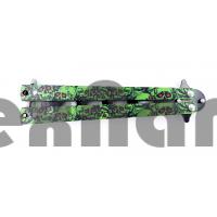 AC-K02 (Зеленый череп)Тренировочный ножик бабочка (22 см)