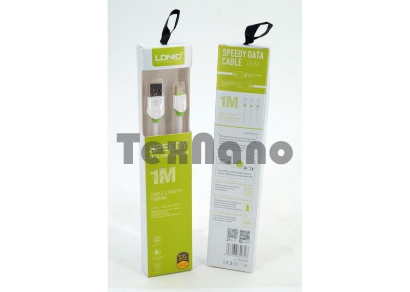 """LS32 USB Кабель Type-C (Силиконовый) """"LDNIO"""" 2.4A 1000mm"""