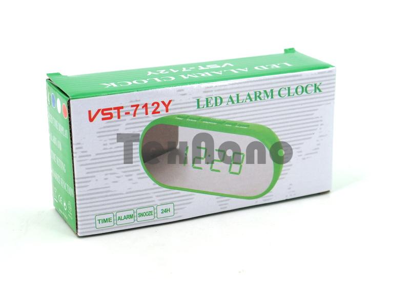 VST-712Y-6 Электронные сетевые часы ( свечение белый, корпус белый)