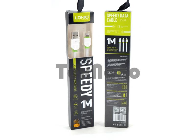 """LS34 USB Кабель iPhone 6/7/8,,(Силиконовый) """"LDNIO"""" 2.4A 1000mm"""