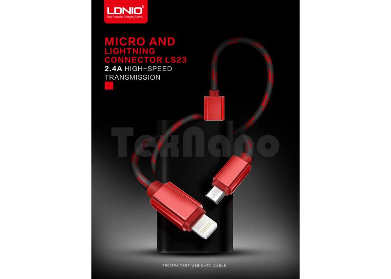"LS23 ""LDNIO"" USB кабель 2.4A / iPhone 5/6/7,1000mm"