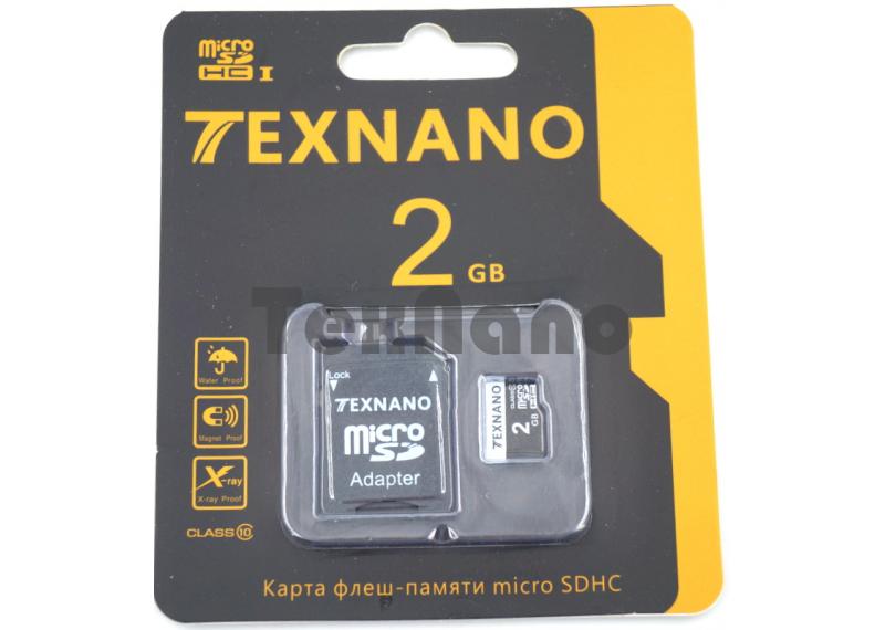 Карта памяти Texnano MicroSDHC 2G +адаптер