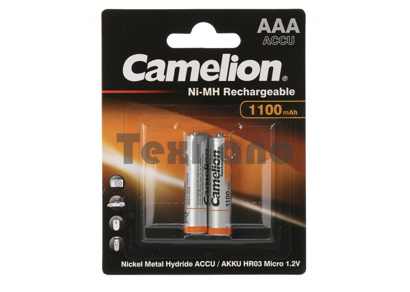 AAA 1100mAh Аккумулятор Camelion Ni-Mh BL-2 (NH-AAA1100BP2, аккум-р,1.2В) (24 / 480 / 17280)