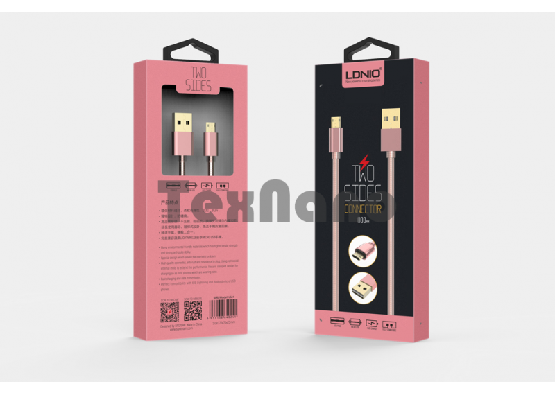 "LS24 Двухсторонний металлический USB кабель android "" LDNIO"""